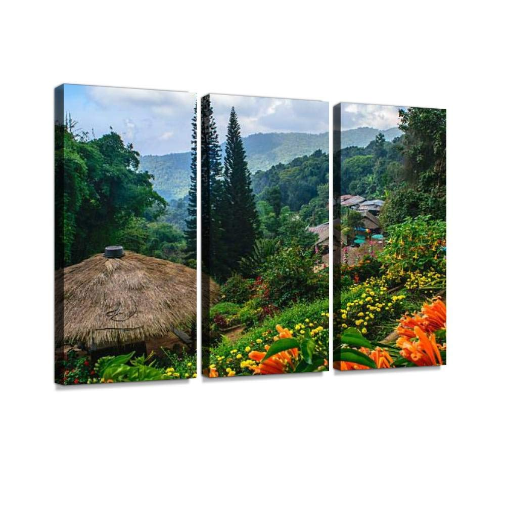 Hill Village of Hmong Tribe Print On Canvas Wall Artwork Modern Photography Home Decor Unique Pattern Stretched and Framed 3 Piece