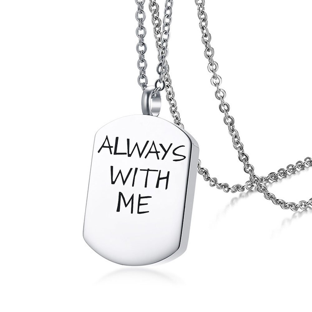 TTVOVO Cremation Urn Pendant Necklace for Ashes Personalized Charm Pendant 316L Stainless Steel Remembrance Memorial Keepsake Jewelry PN964