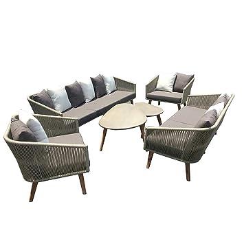 Elegant Loungemöbel Outdoor Avarua Sofagruppe 6 Teilig Akazie/Rope Gartenmöbel  Design Gartenlounge Modern