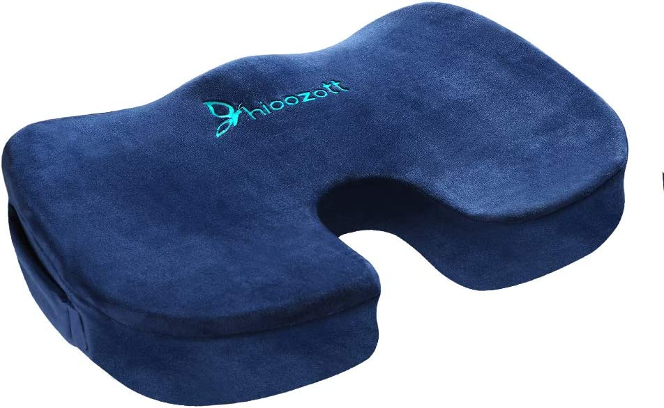 Hioozott Comfort Seat Cushion 100% Memory Foam Coccyx Cushion for Tailbone Pain Orthopedic Seat Cushion for Home Office Chair,Car Seat &Wheelchair Coccyx Cushion Sciatica & Back Pain Relief (Blue)