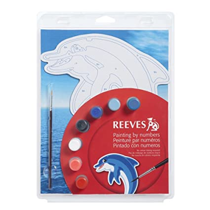 amazon com reeves color shape by numbers dolphin arts crafts