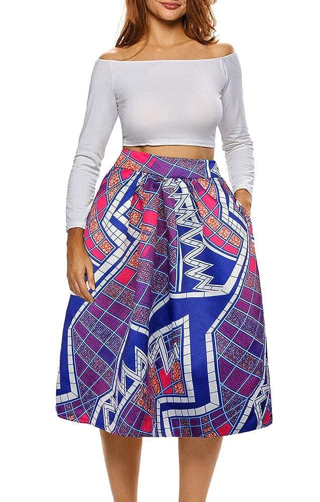 78b8284f37 Afibi Africano Stampa Gonne per Donne Boho più Dimensione Bagliore Pieghe  Gonne