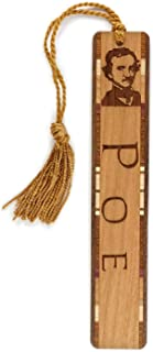 product image for Personalized Edgar Allan Poe Photo with Name Engraved Wooden Bookmark with Tassel