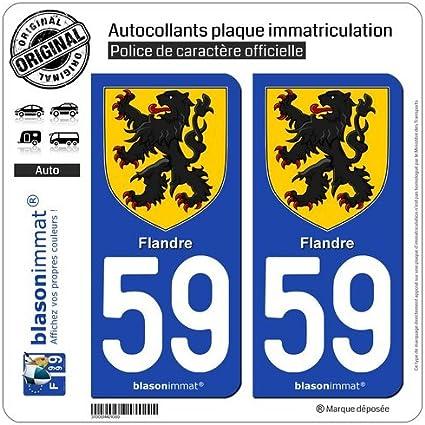 Blasonimmat - Lote de 2 pegatinas para matrícula de coche con diseño del escudo de Flandes y el número de departamento 59: Amazon.es: Coche y moto