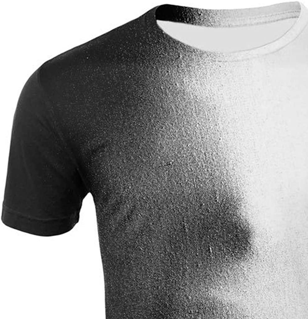 Summer 3D Print Round Neck Slim Fit Short Sleeve Top Shirt Blouse Mens T-Shirt