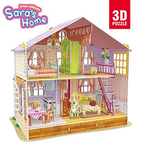 CubicFun Miniature Dollhouse Kits with Furniture,Kids House 3D Puzzle Toys,Sara's Home P678h Children Dollhouse Miniature