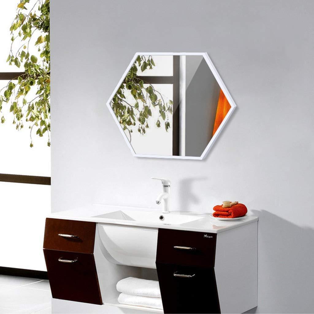 Grande Specchio da Parete Esagonale in Metallo Specchio da Bagno 60x80cm Oro Nero Colore : Nero, Dimensioni : 40x60cm