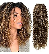 Hetto Curly Clip in Extensions Brown Highlight Blonde Hair Extensions Wavy Human Hair 14 Inch 100...