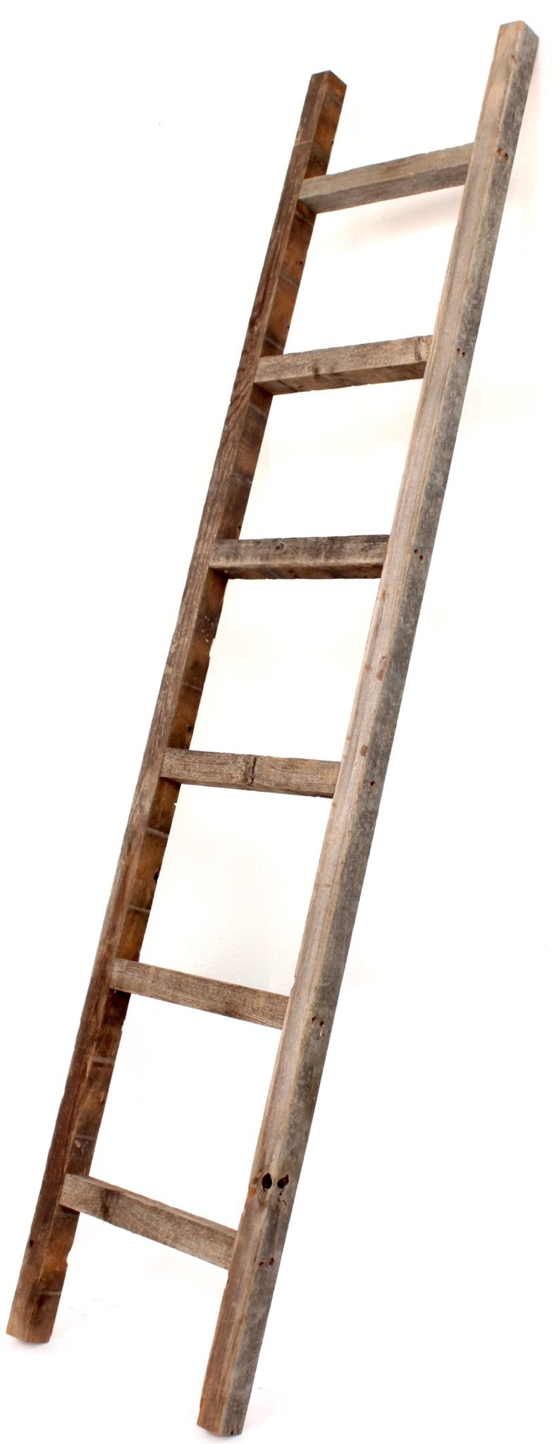 BarnwoodUSA Rustic Farmhouse Decorative Ladder - Our 6 ft Ladder can be Mounted Horizontally or Vertically and is Crafted from 100% Recycled and Reclaimed Wood | No Assembly Required | Weathered Gray by BarnwoodUSA