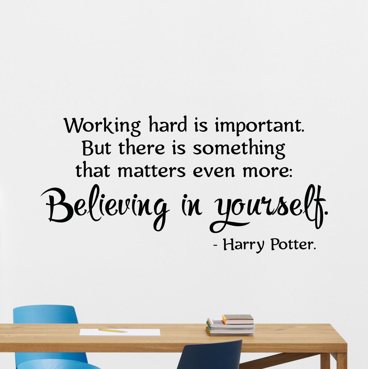 Julia Cruz Harry Potter Quotes Wall Decal Working Hard is Important Believing in Yourself HP Movie Vinyl Sticker Cartoons Wizard Boy Kids Wall Art ...