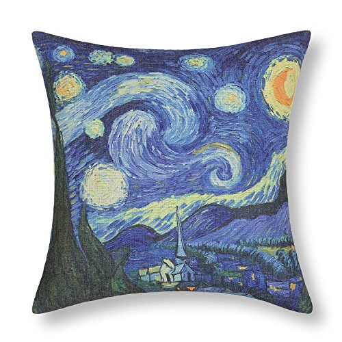 CaliTime Canvas Throw Pillow Cover Case for Couch Sofa Home Decoration Famous Picture Print 18 X 18 Inches Van Gogh Painting Starry Night (Van Gogh Starry Night Painting For Sale)