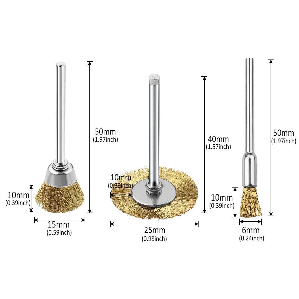 Drahtb/ürsten 48Pcs Messingb/ürsten Stahldraht Pinsel Scheibenb/ürste Set 3mm Polieren Reinigung Drehwerkzeug Rotationswerkzeuge f/ür Reinigungs und Schleifarbeiten
