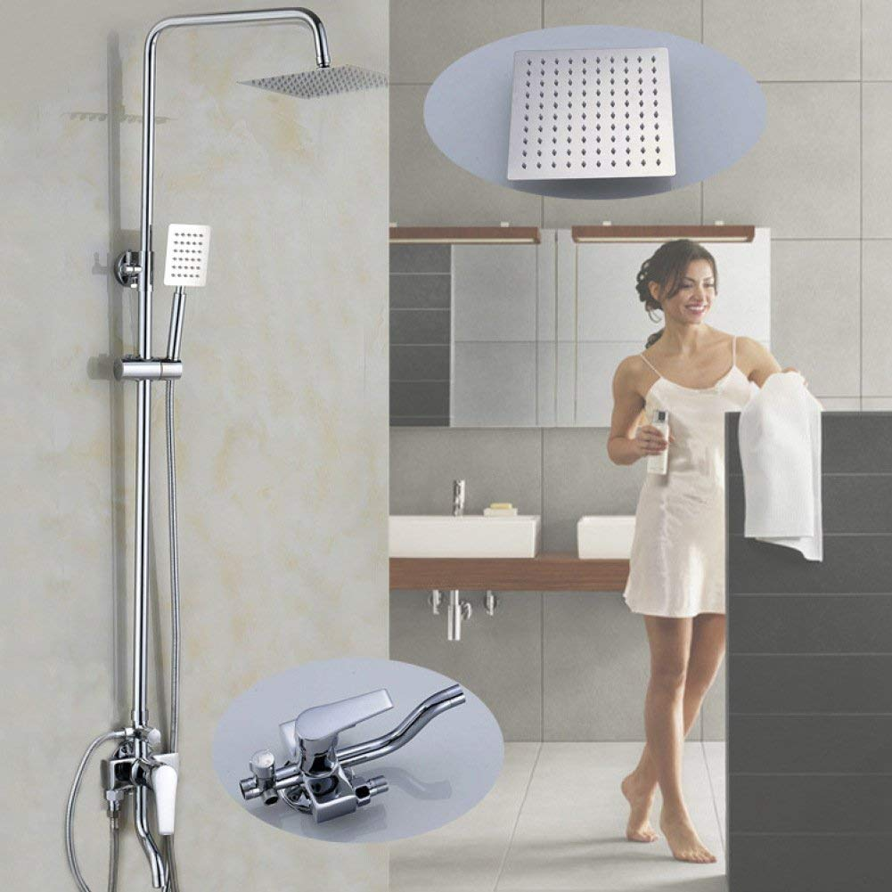 Bathroom Modern Minimalist Shower System in Stainless Steel, Square Top Slim Shower and Shower, Hand Shower Faucet Set Button