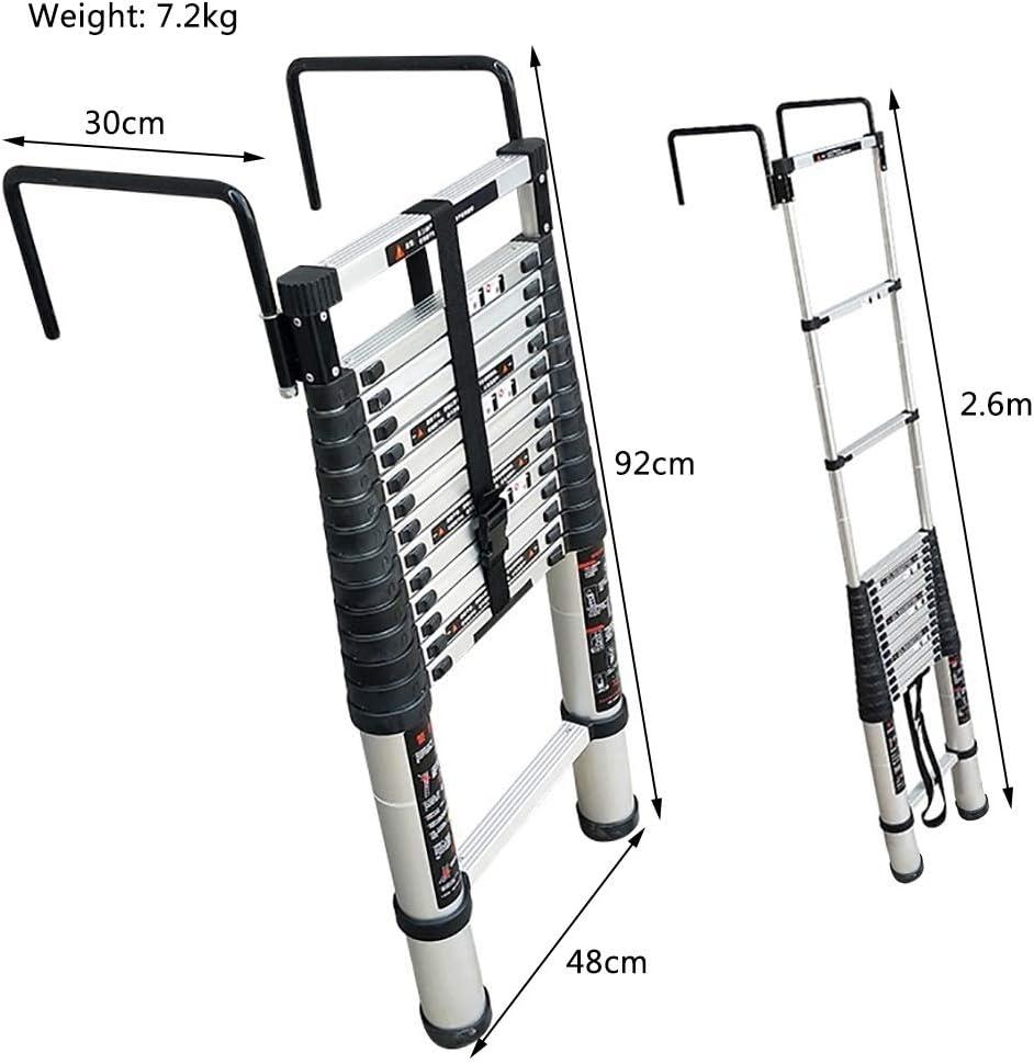Escalera escamoteable Escalera techo desmontable con gancho, peldaño inferior y estabilizador, aluminio Extensión telescópica Escalera, 330 Lb Gran capacidad de carga, fácil de llevar (tamaño : 2m) : Amazon.es: Hogar