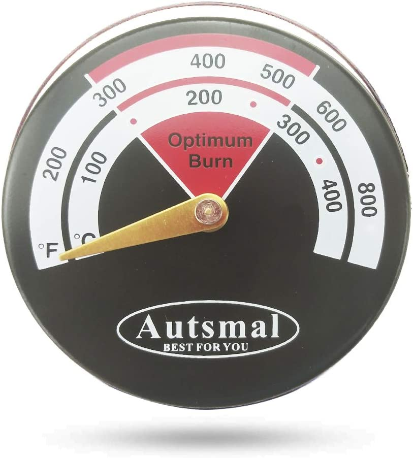 Thermometers Wood Stove Thermometers,Stove Meter Thermometers for Wood Burning Stoves Top,Flues,Stovepipe Thermometer Measures Temperatures on StoveTop,Avoid Stove Fan Damaged by Overheat