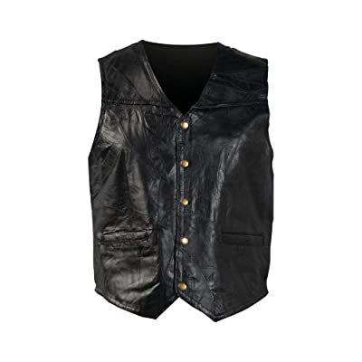 Giovanni Navarre Genuine Black Leather Motorcycle Vest: Clothing