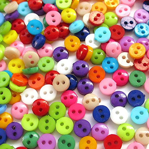 Round Plastic Buttons (500pcs 6mm Mini Plastic Round Button 2 Holes Craft Clothe Sewing Wholesale)