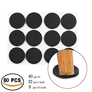 MIMU SHOP 80 Pieces Self Adhesive, Best Felt Pads for Furniture, Self Sticking Protect Your Hardwood & Laminate Flooring, Black