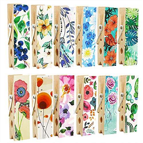 Cosylove Pack-12 Decorative Magnetic Clips - Refrigerator Magnets Display Photos,Memos,Lists,Calendars on Whiteboard,Cabinets,Office or Classroom - Fridge Magnets Made of Wood]()