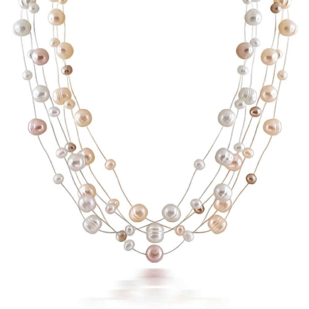 Pink White Freshwater Cultured Pearl Silver Plated Illusion Necklace 18 Inches