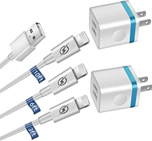 GLUGRU [5-Pack] Phone Charger, (10FT+6FT+3FT) Extra Long Fast Charging & Sync Cable with 2 X Dual Port USB Wall Charger Plug Adapter Compatible with iPhone 11 Xs Max XR X 8 7 6S 6 Plus SE2 5S Pad