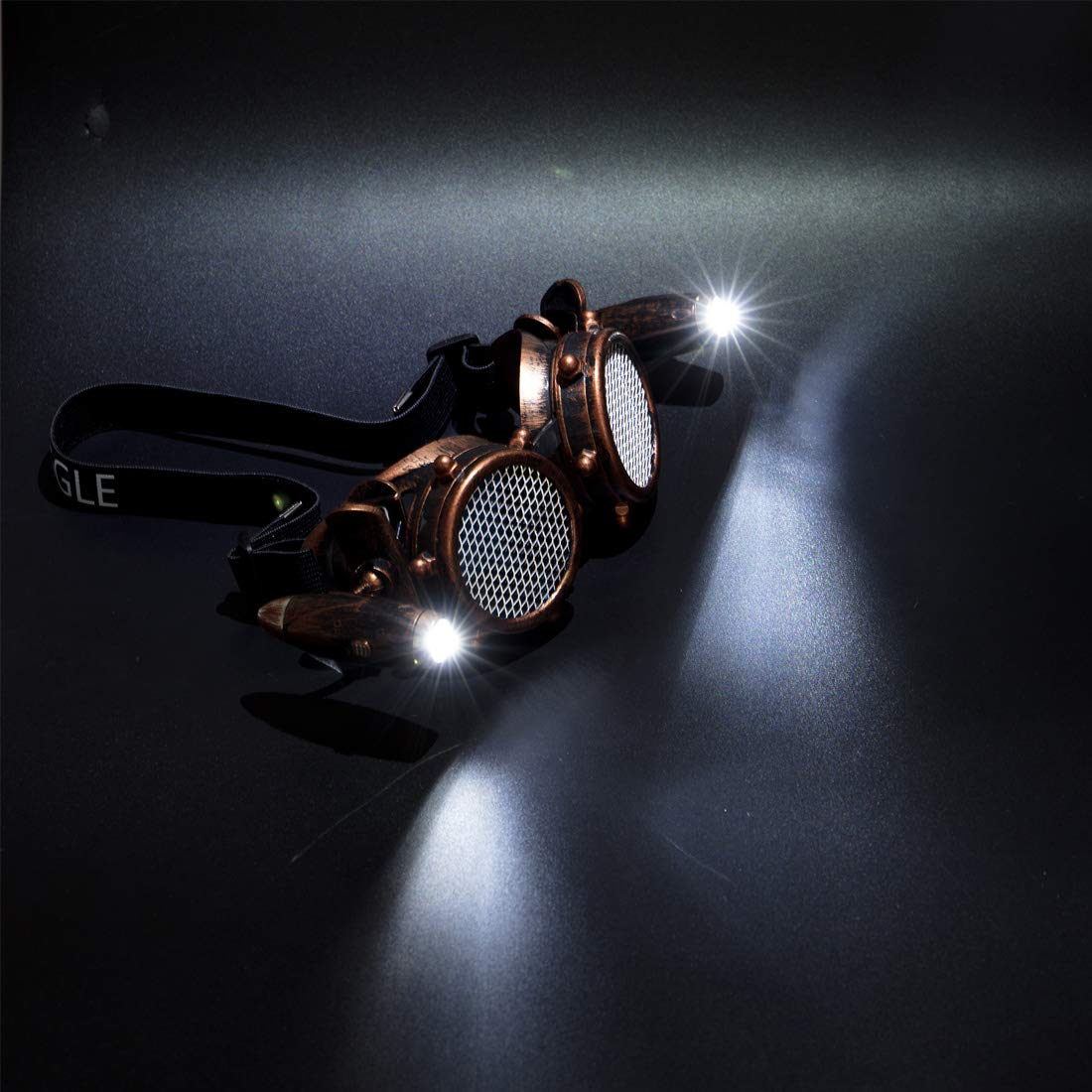 FLORATA Rivet Steampunk Goggles Firework Diffraction Prism Glasses Prism Refraction Sunglasses Cosplay Goggles