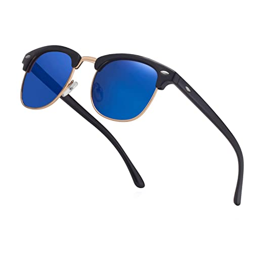 89b7c5e2f6204 Unisex Semi Rimless Polarized Sunglasses Men Women Clubmaster Classic Sun Glasses  Half Frame Retro Shades