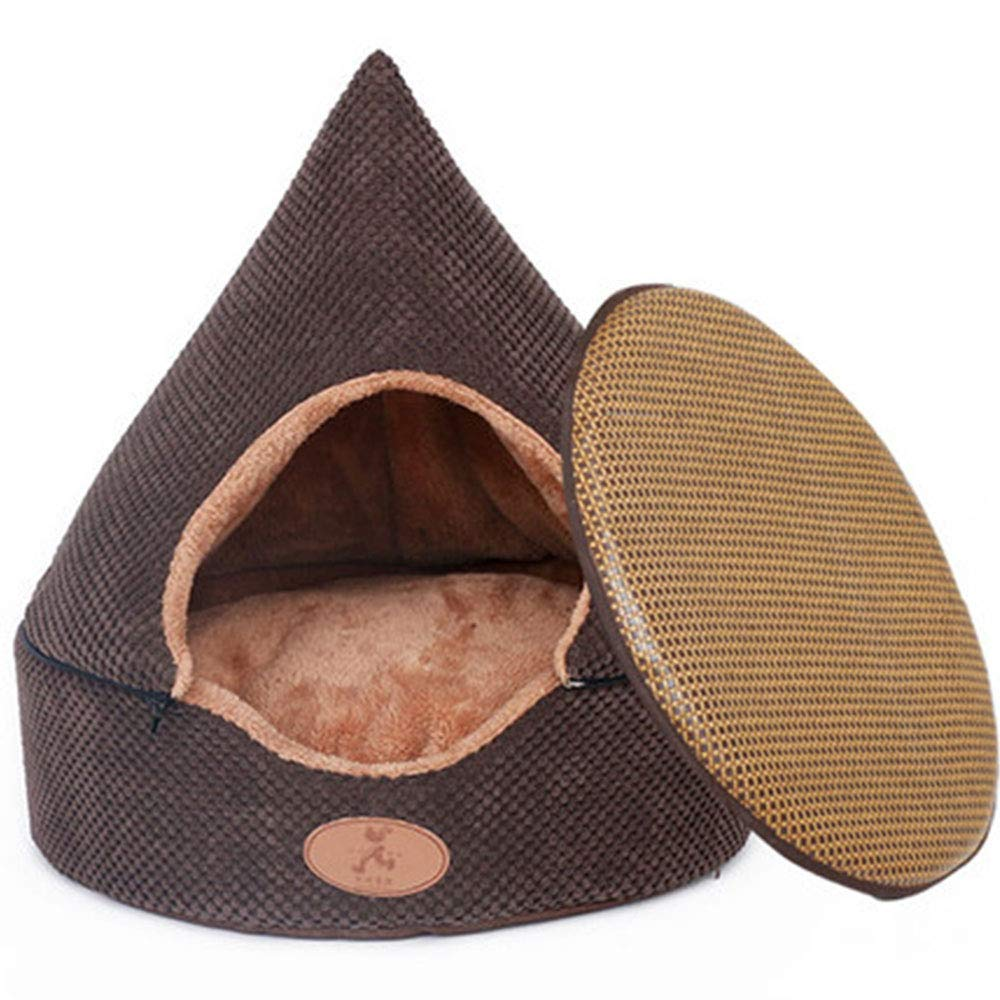 Brown(Mat) SAXIANQI Kennel Closed Small Dog Medium Dog Washable Tent Method Bucket Keji Dog House Indoor Pet Yurt A (color   Brown(Mat), Size   S)