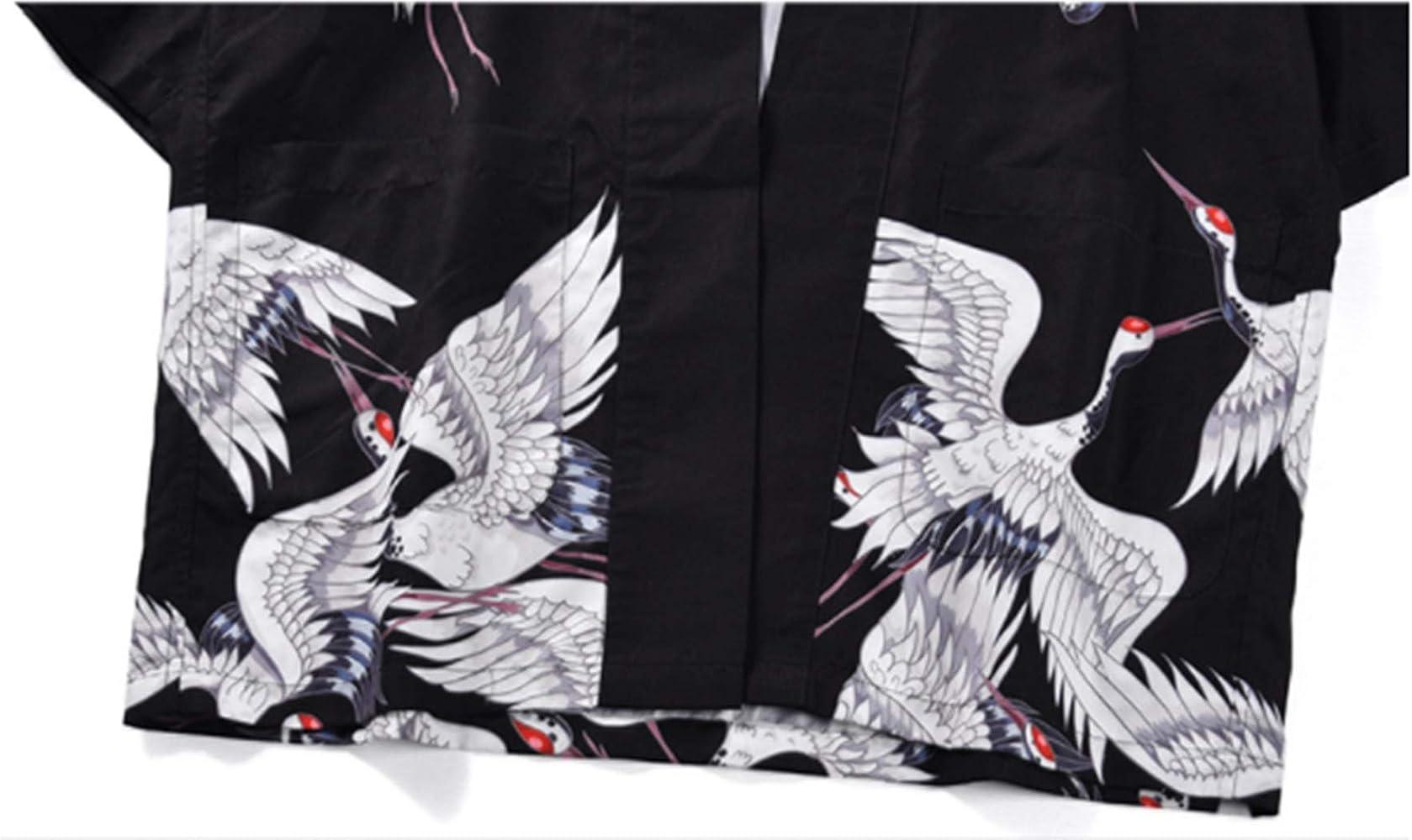 ZDYS Veste Kimono à Manches Courtes pour Homme Motif Grue