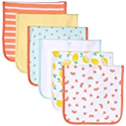 Amazon Essentials Baby 6-Pack Burp Cloth, Girl Fruit, One Size