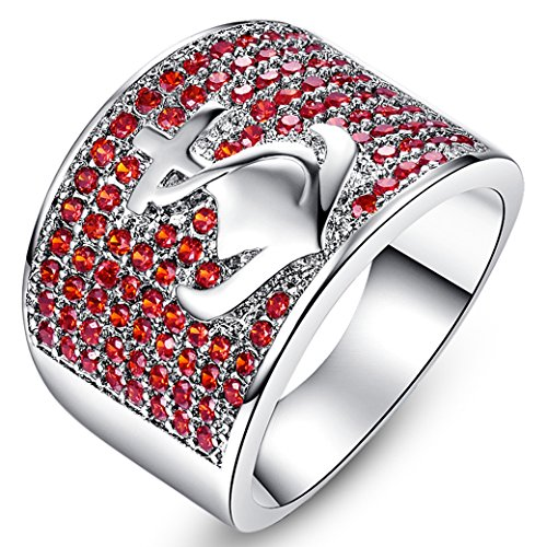 Veunora 925 Sterling Silver Created Garnet Filled Engraved Anchor Ring for Women Size ()