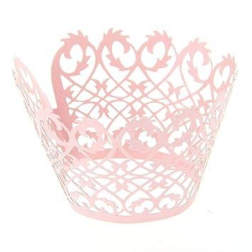 Set 50 Papel de Pastel Molde Esqueleto Color Rosa Decoración Boda Ceremonia: Amazon.es: Hogar