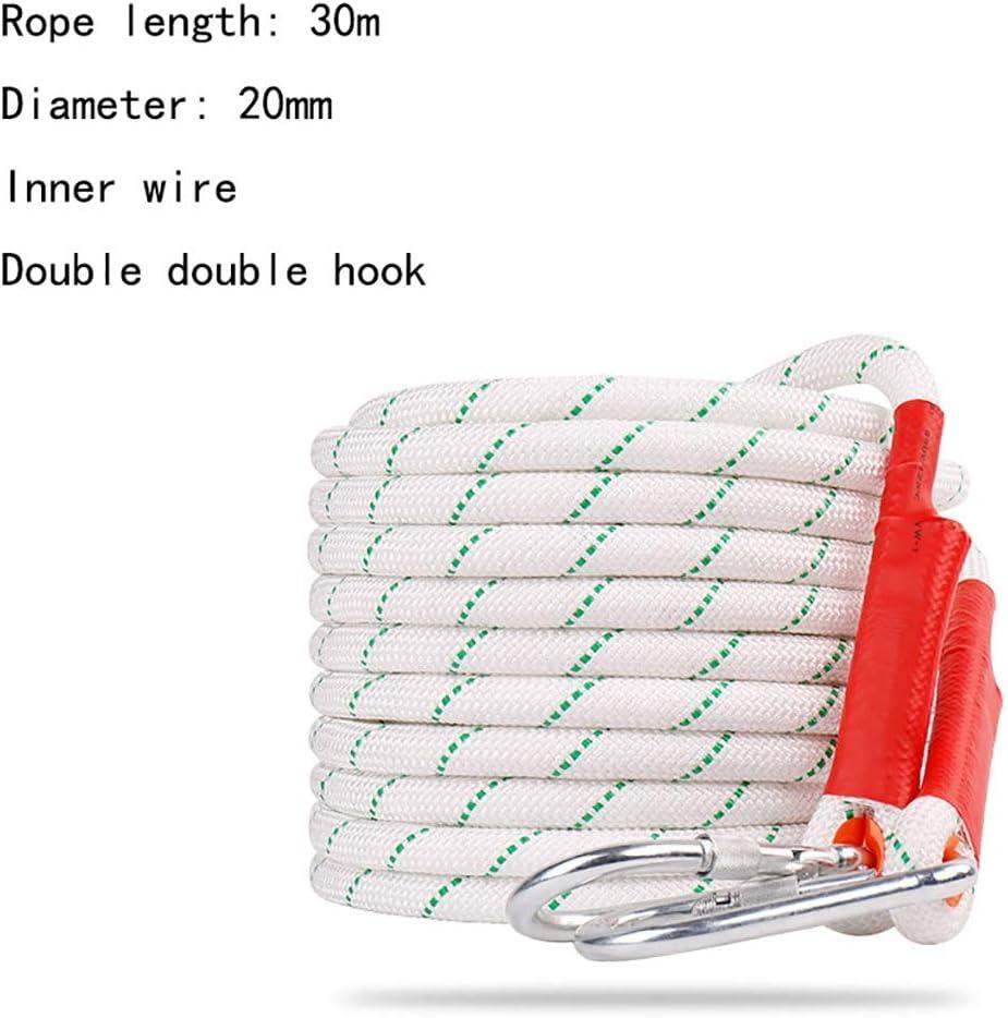 クライミングハーネス 耐荷重約2600kgの頑丈なロープ、強化ポリエステル製安全ロープ、直径20mmの屋外用クライミングロープ、鋼線を使用した落下防止ロープ (Color : 20mm-30m) 20mm-30m
