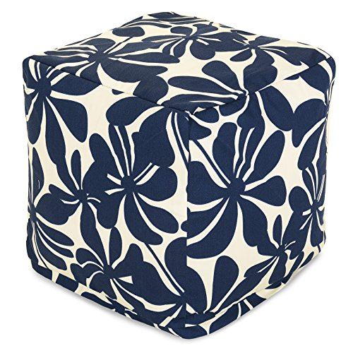 "Majestic Home Goods Navy Blue Plantation Indoor/Outdoor Bean Bag Ottoman Pouf Cube 17"" L x 17"" W x 17"" H from Majestic Home Goods"