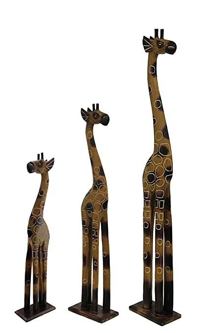 Wood Statues Set Of 3 Hand Crafted Wooden Giraffe Statues 24 32