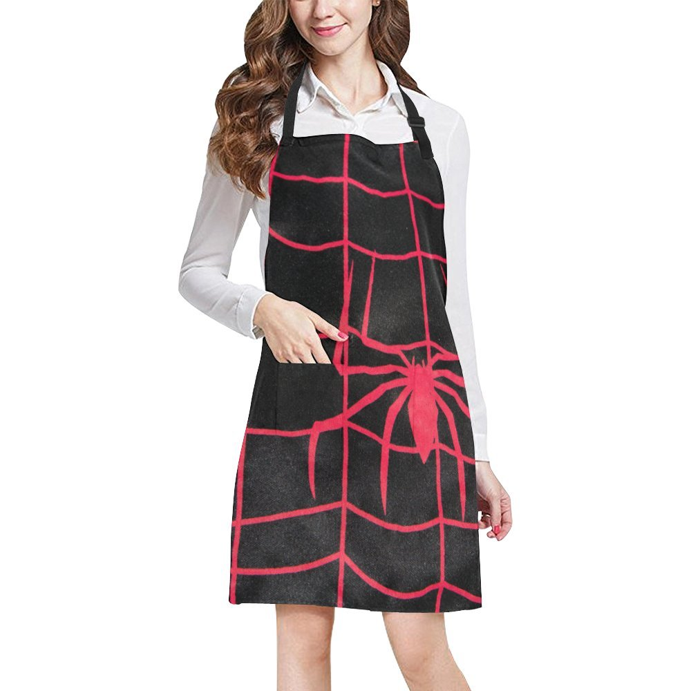 InterestPrint Home Kitchen Apron for Women Men with Pockets Red Spider Adjustable Bib Apron for Cooking Baking Gardening Large Size