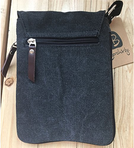 Berchirly Small Vintage Canvas+Leather Messenger Cross body bag Pack Organizer