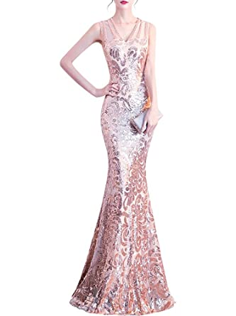 Lanierwedding Prom Dresses Long Bodycon V-Neck Sequins Bridesmaid Dresses 2018 Lanier Rose Gold Size