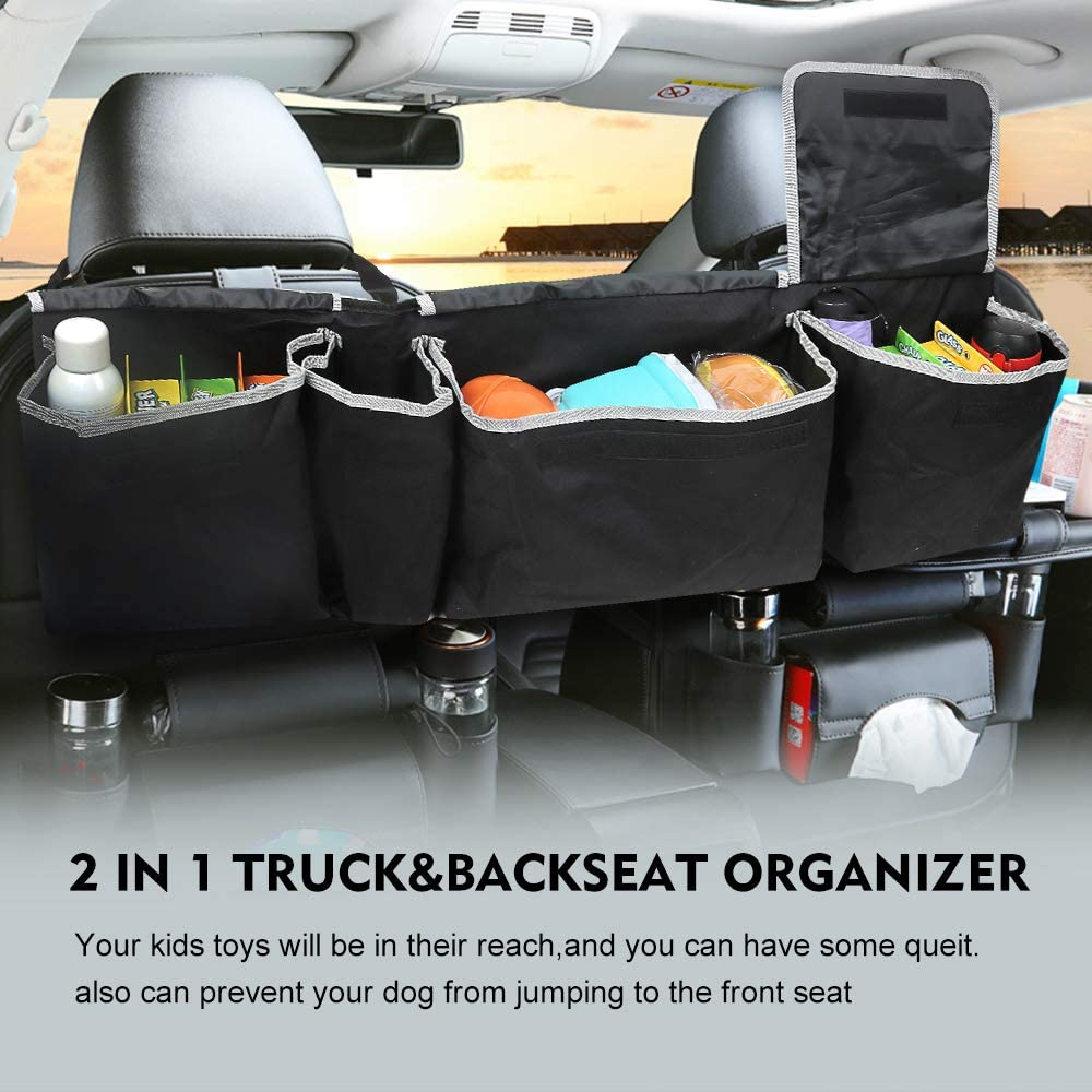 LBLA Car Boot Organiser,Back Seat Storage Organizer with 4 Pockets,Car Trunk Organizers for SUV Truck Van,Space Saving Adjustable Straps
