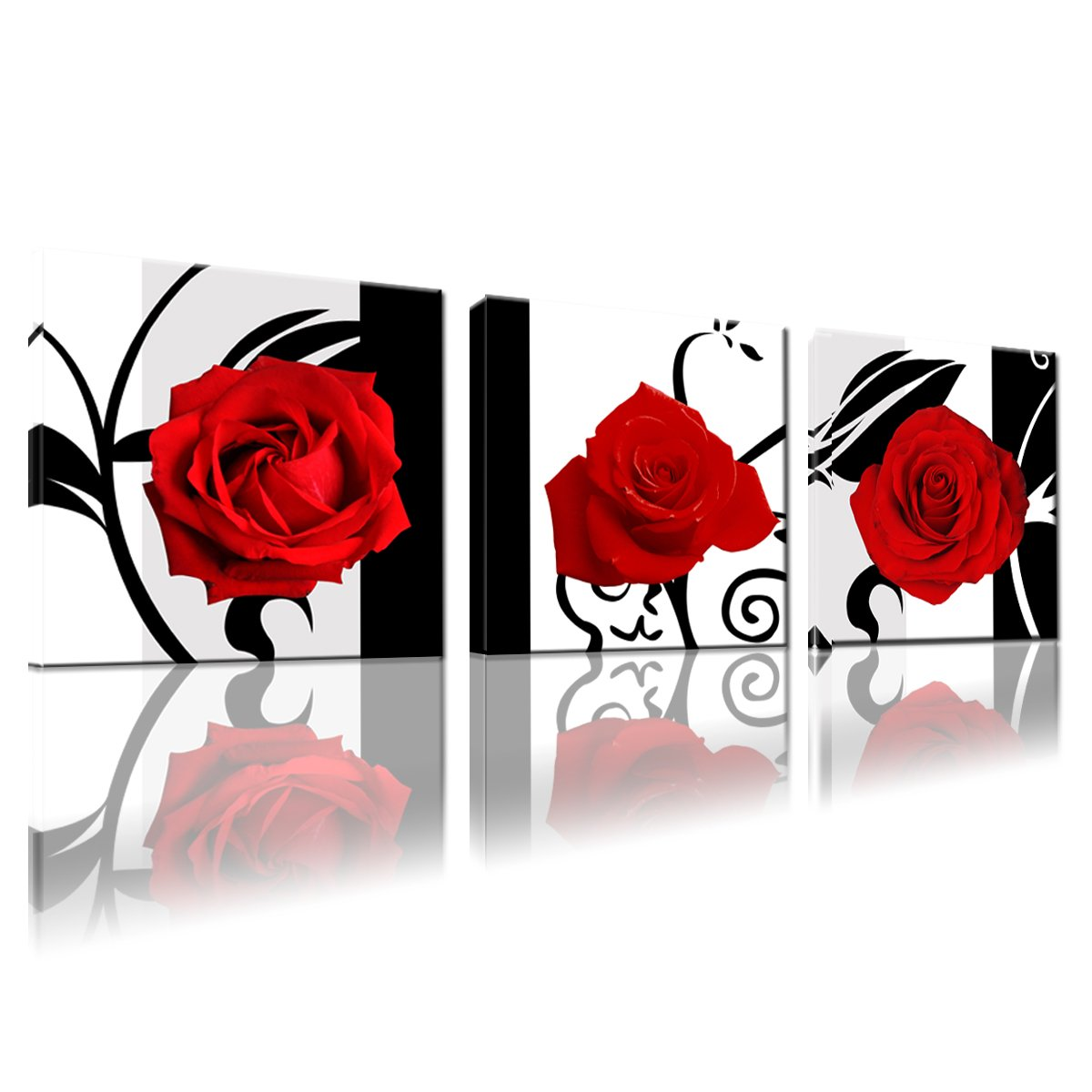 RED ROSE IN BLACK BACKGROUND PHOTO PRINT ON WOOD FRAMED CANVAS WALL ART
