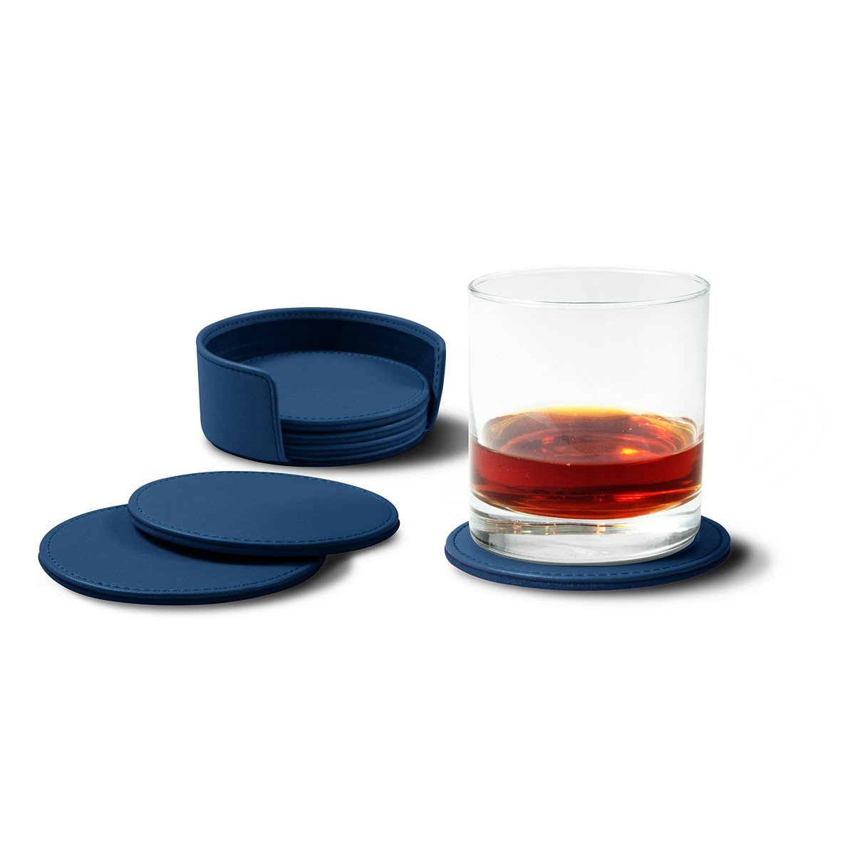 Lucrin - Set of 6 Round Real Leather Coasters with Coaster Holder - Royal Blue - Smooth Leather