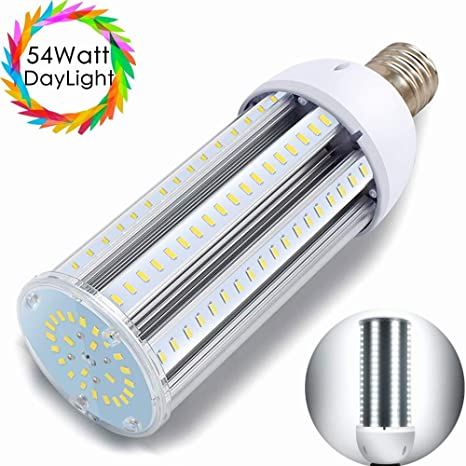 54W LED Corn Light Bulb, Daylight White 6500K, 6000 Lumens, E39 Mogul Base  Street and Area Lights, 400 Watt Equivalent Replacing Metal