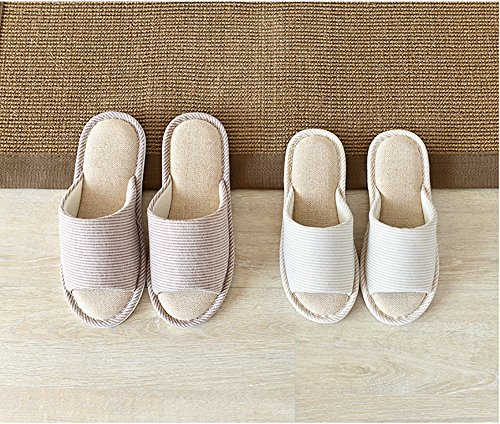 Unisex Slip Home Mens Flax Women Blue Soft Open Non Cotton Shoes Indoor Sole Toe Washable Shoes Slippers MAGILONA Casual fZEwxnw