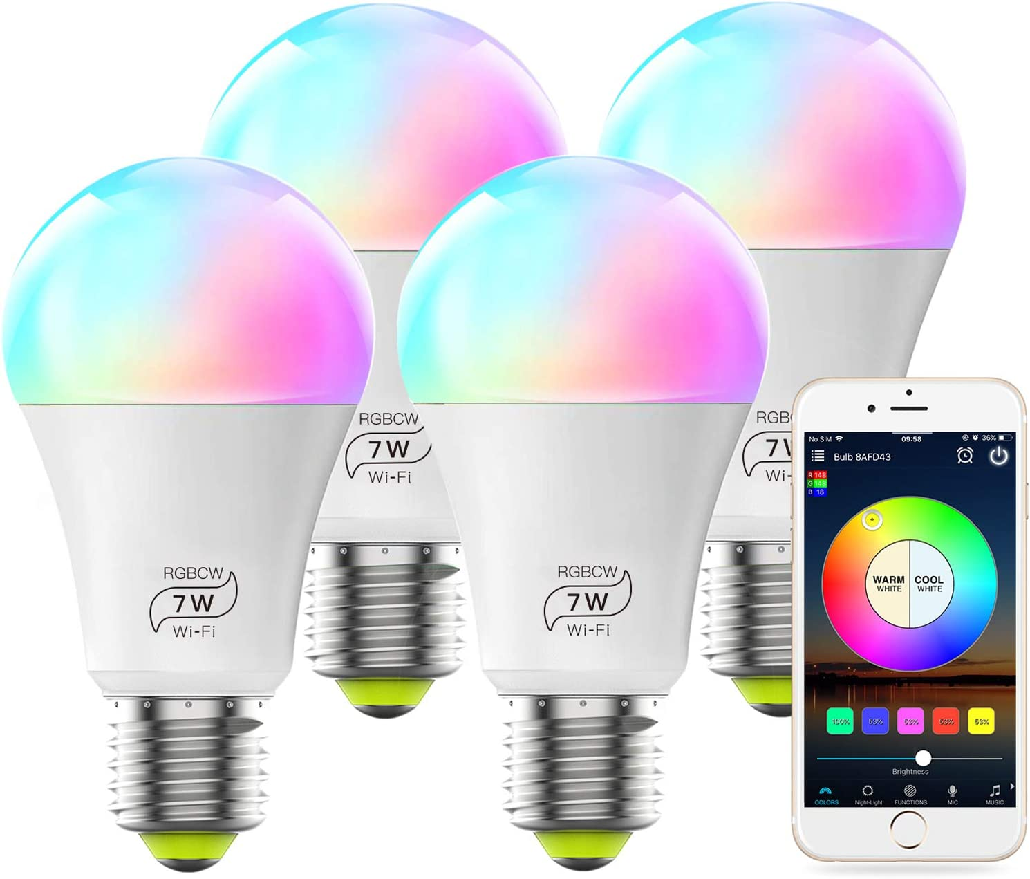 MagicLight Smart WiFi Bulb No Hub Required, Dimmable Multicolor E26 A19 7W (60w Equivalent) RGBCW LED Smart Light, Compatible with Alexa Google Home and Siri (4 Pack)