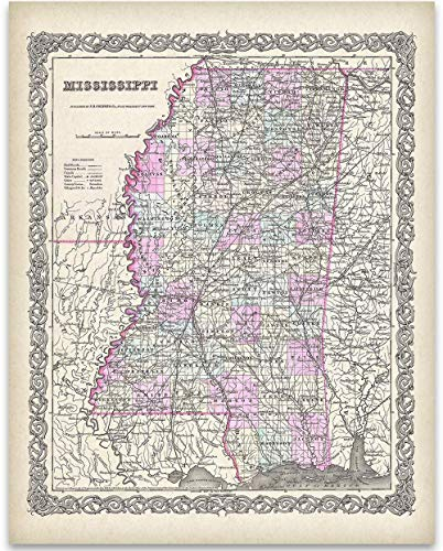 1855 Map of Mississippi - 11x14 Unframed Art Print - Great Vintage Home Decor, Also Makes a Great Gift Under - Map Wall Mississippi