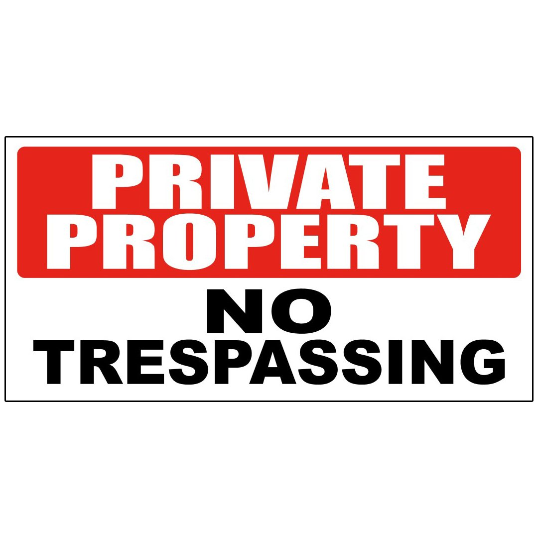 Private Property No Trespassing Decal Sticker Retail Store Sign 4.5 X 12 Inches