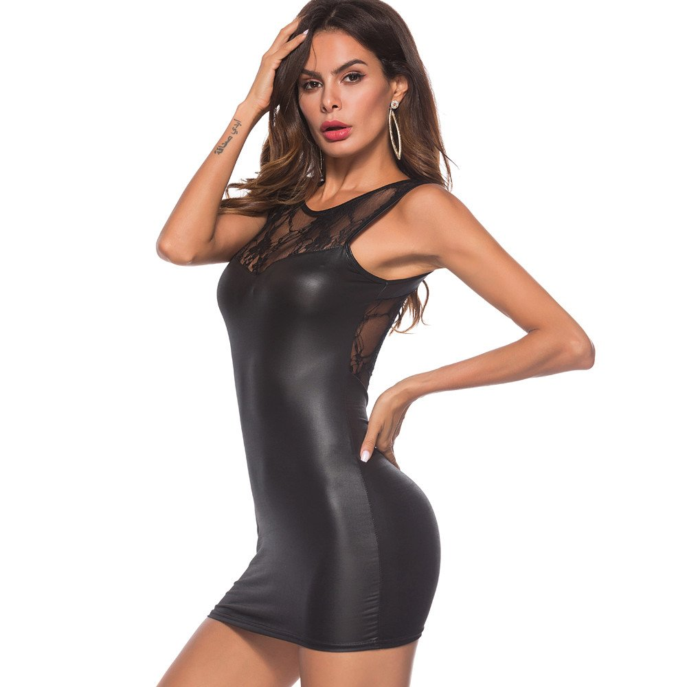 OHQ_vestidos Mujer Mujeres Sexy Artificial Leather Underwear Bodysuit Mini Dress Lace LenceríA Falda Vestir Camisetas Blusa Tops Fiesta Elegante: Amazon.es: ...