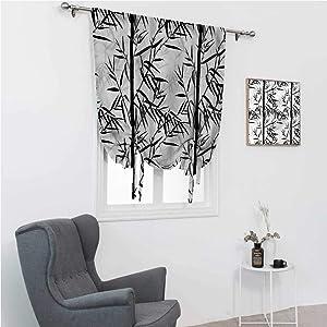 Room Darkening Curtain Bamboo Roman Window Shades Floral Chinese Garden Zen 48