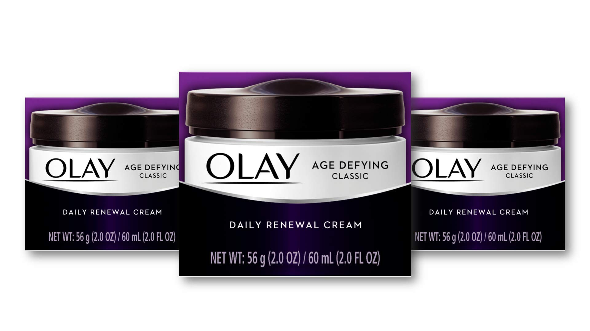 Olay Age Defying Classic Daily Renewal Cream, Face Moisturizer 2. fl oz(Pack Of 3)  Packaging may Vary by Olay