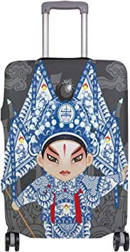 FOLPPLY Chinese Peking Opera Actress Luggage Cover Baggage Suitcase Travel Protector Fit for 18-32 Inch